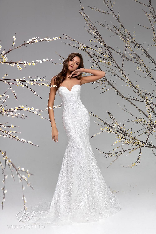 A Ricca Sposa strapless sparkle mesh mermaid wedding dress