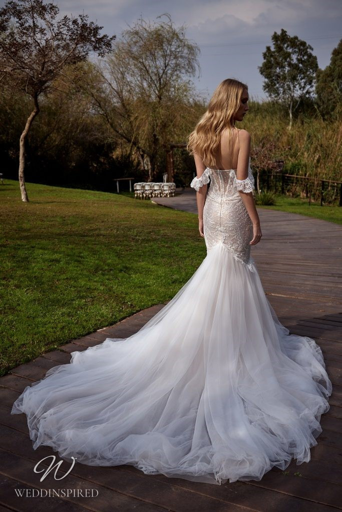 A Julie Vino 2021 beige/tan/nude off the shoulder lace and tulle mermaid wedding dress