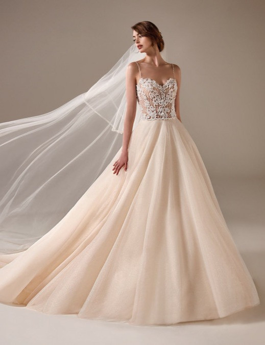 A Pronovias peach blush lace and tulle ball gown wedding dress