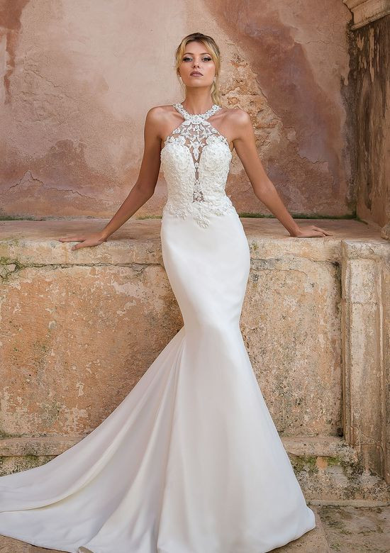 A Justin Alexander halterneck lace mermaid wedding dress