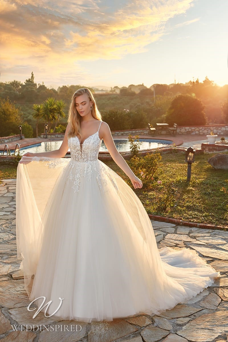 An Eddy K 2022 lace and tulle princess wedding dress