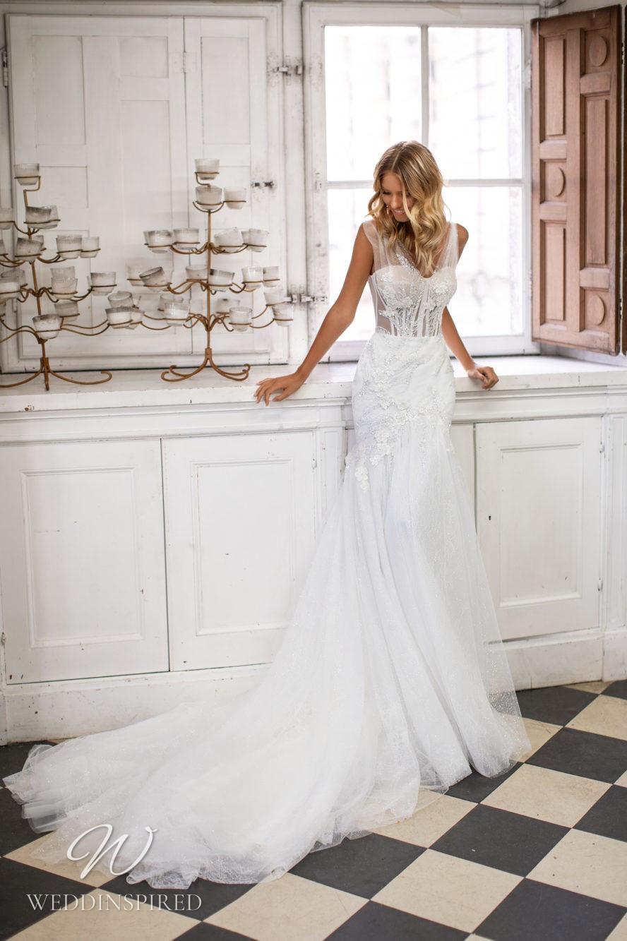 A Milla Nova tulle white mermaid wedding dress