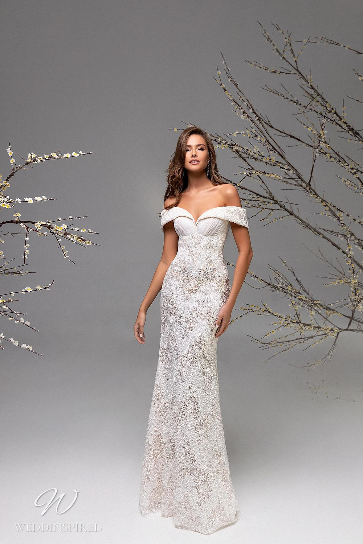 A Ricca Sposa off the shoulder sparkle mermaid wedding dress