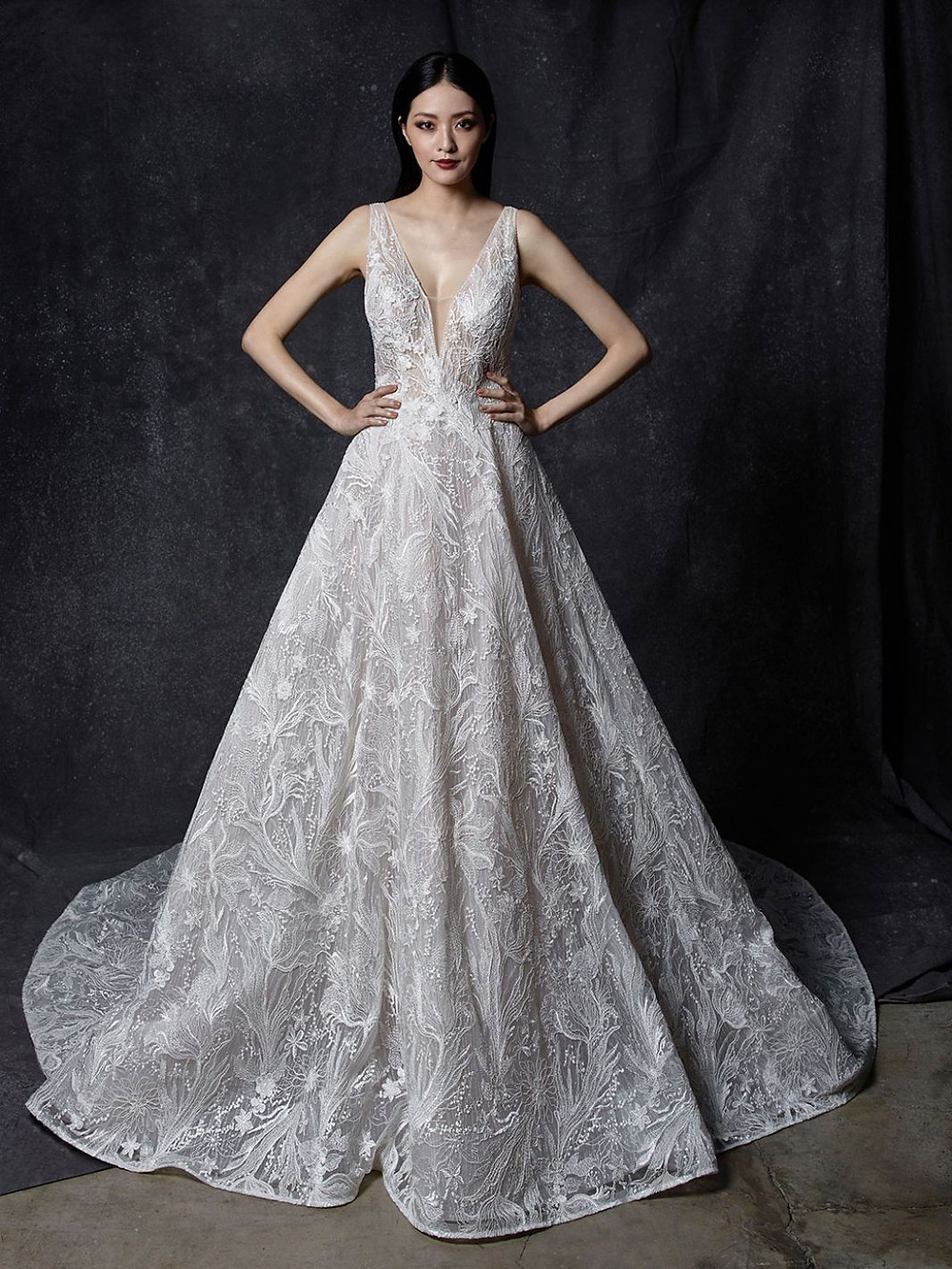 An Enzoani v neck, lace ball gown wedding dress with a long train