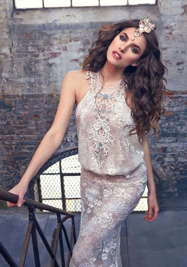 A Galia Lahav halterneck lace column wedding dress