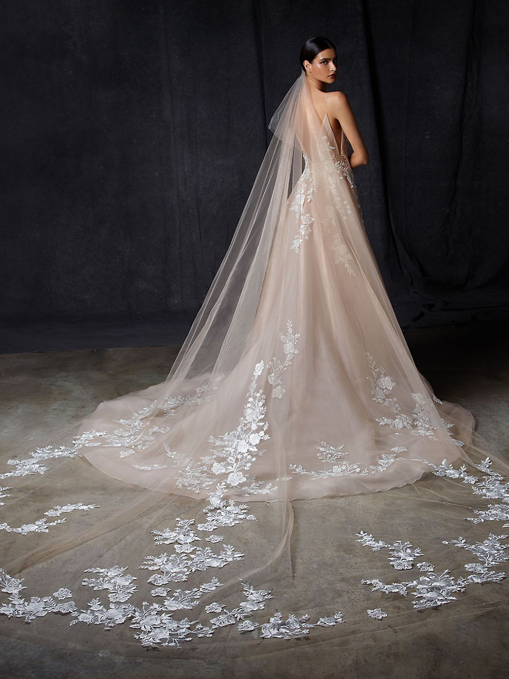 An Enzoani blush, tulle ball gown wedding dress with lace, thin straps, a long train and a veil