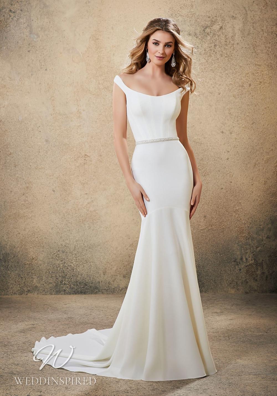 A Madeline Gardner simple off the shoulder crepe mermaid wedding dress