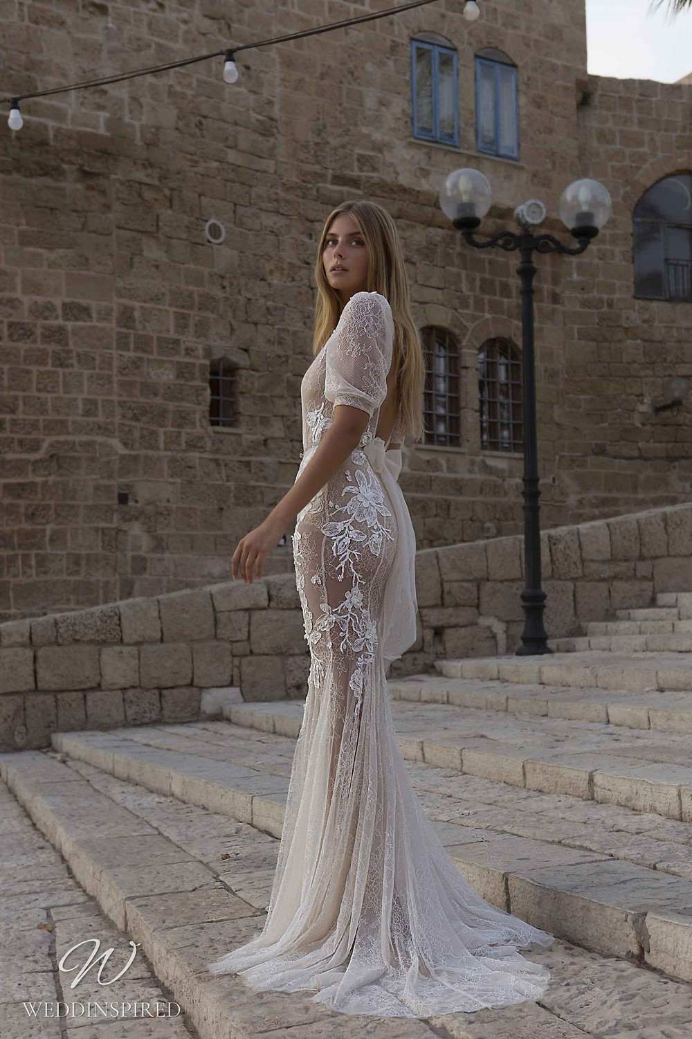 A Berta Priveé No 5 2021 nude lace mermaid wedding dress with a v neck and sleeves