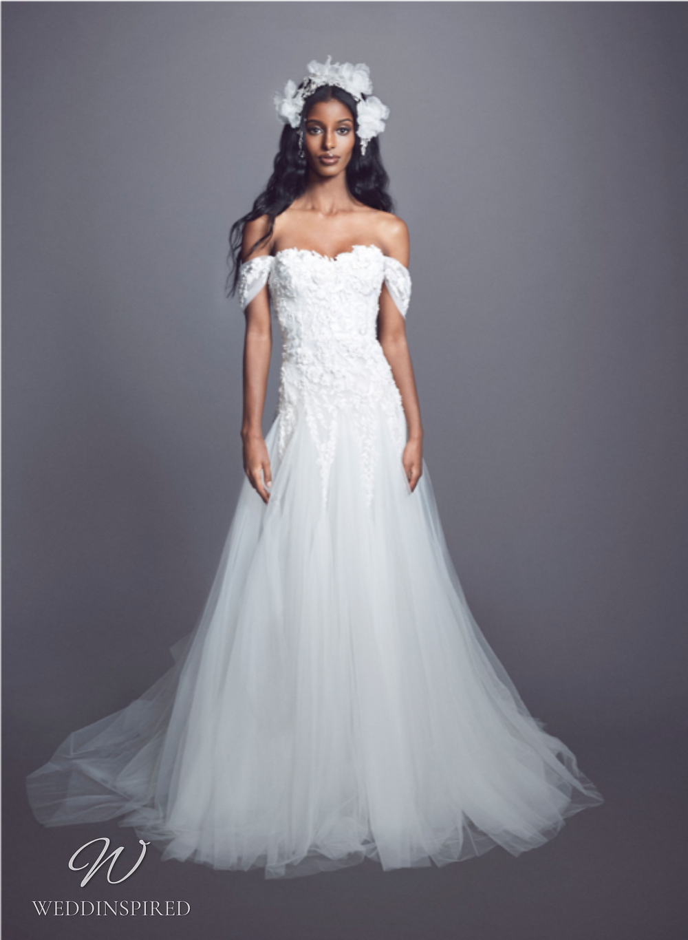 A Marchesa Fall 2021 off the shoulder lace and tulle A-line wedding dress