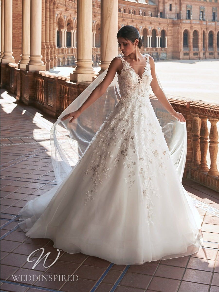 A Marchesa for Pronovias 2022 lace and tulle A-line wedding dress with a v neck