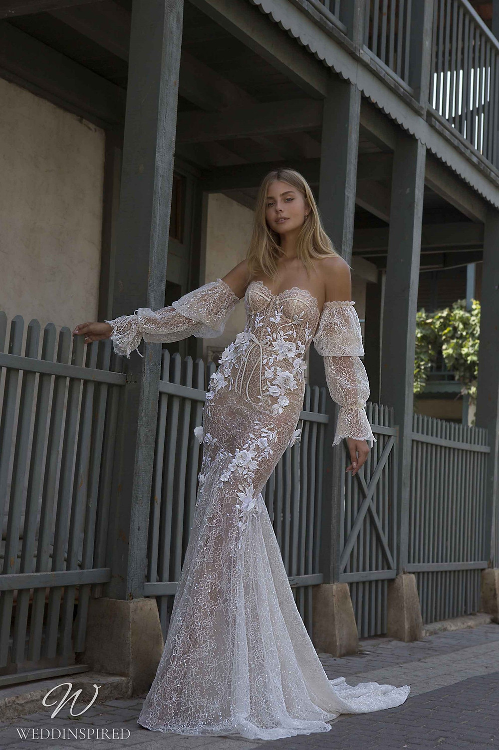 A Berta Priveé No 5 2021 strapless nude sparkly lace mermaid wedding dress with removable sleeves