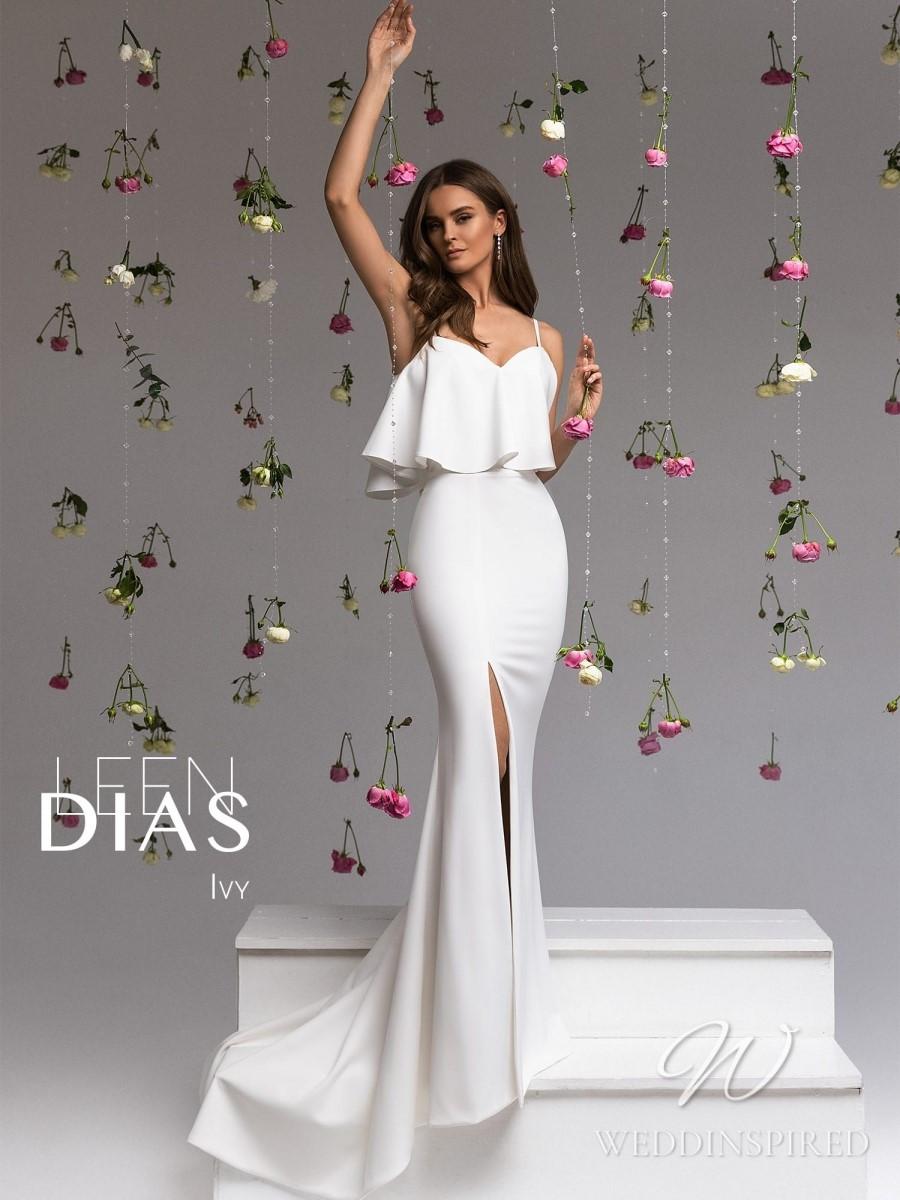 A Leen Dias 2021 simple satin mermaid wedding dress with a ruffle