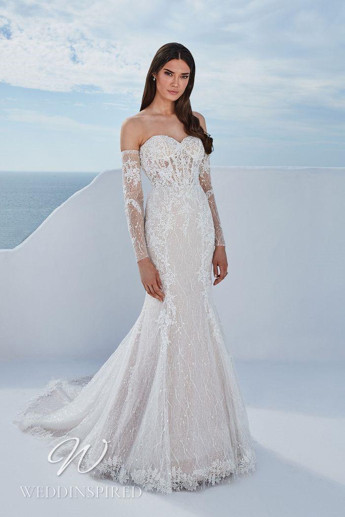 A Justin Alexander 2021 lace off the shoulder mermaid wedding dress