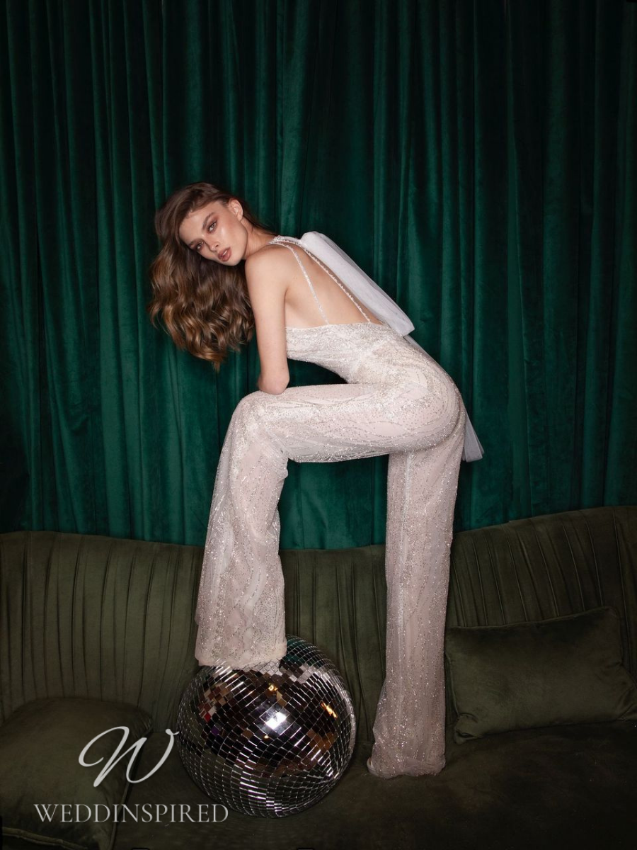 A Riki Dalal 2021 sparkly tulle wedding jumpsuit