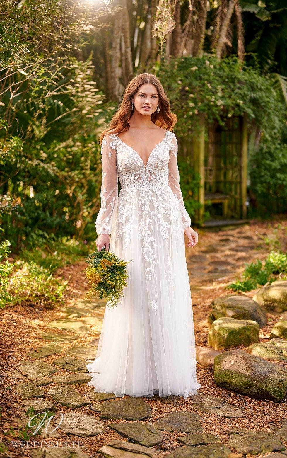 An Essense of Australia lace and tulle A-line wedding dress with long illusion sleeves