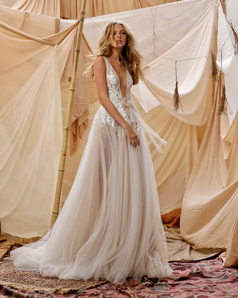 A Berta 2021 low-V flowy wedding dress, with flower embroidery
