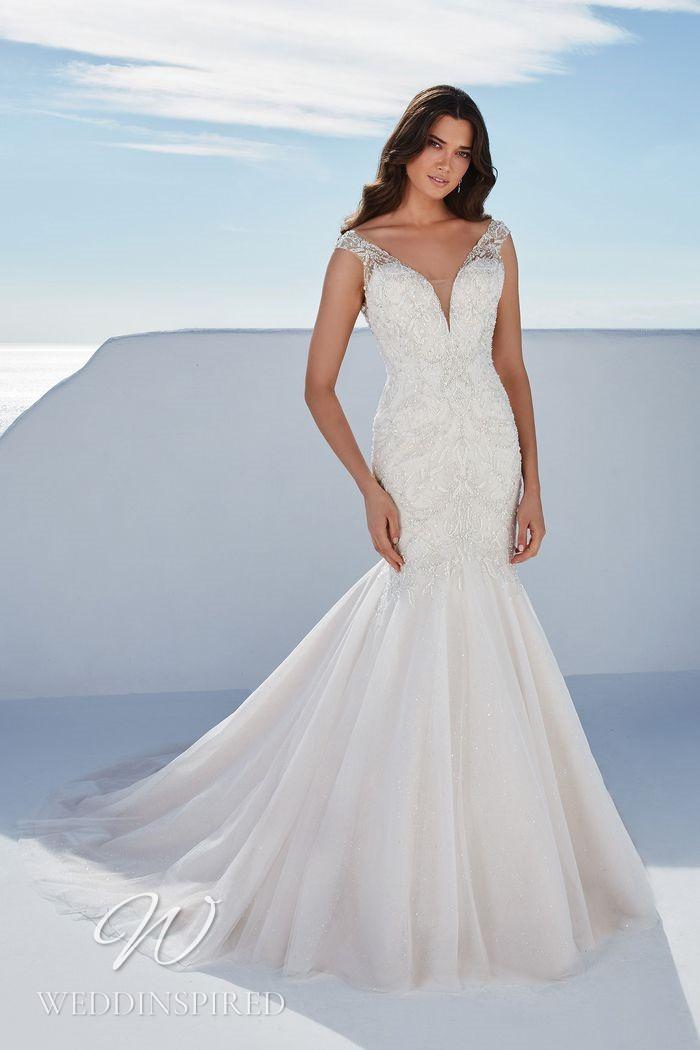 A Justin Alexander 2021 lace mermaid wedding dress