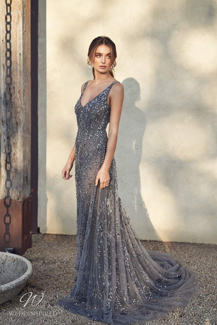 An Anna Campbell 2020 dark gray A-line wedding dress with a v neck, beading and crystals