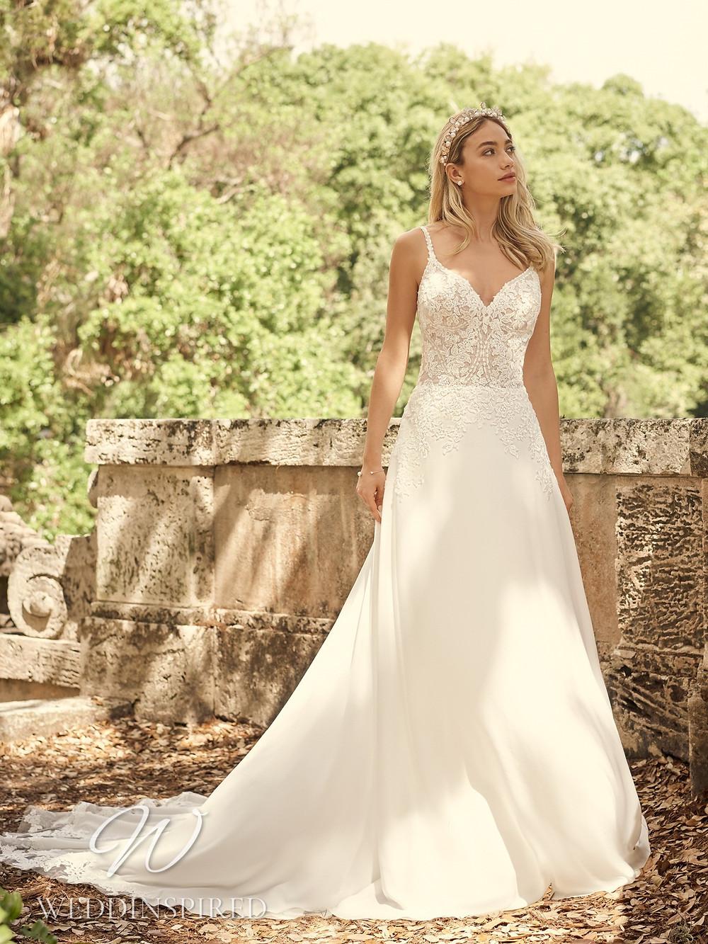 A Maggie Sottero 2021 lace and chiffon A-line wedding dress