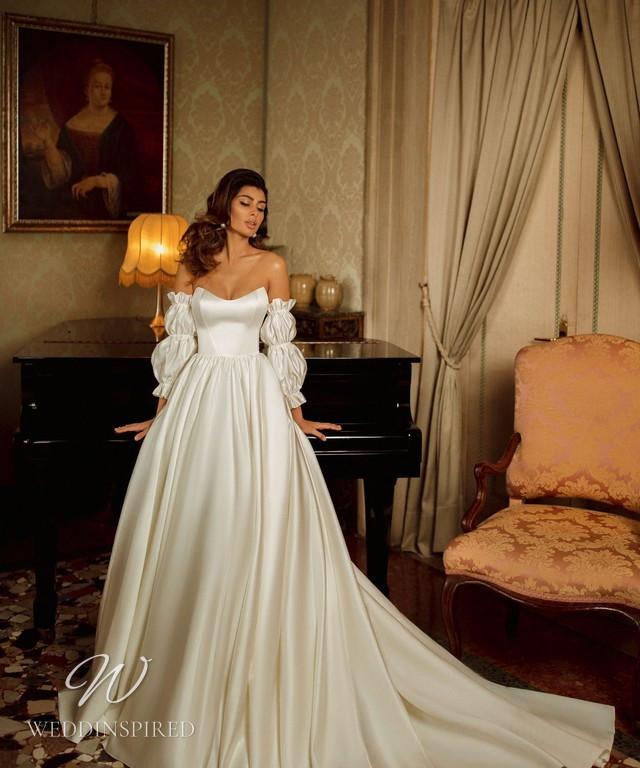 A Rara Avis 2021 simple strapless silk ball gown wedding dress