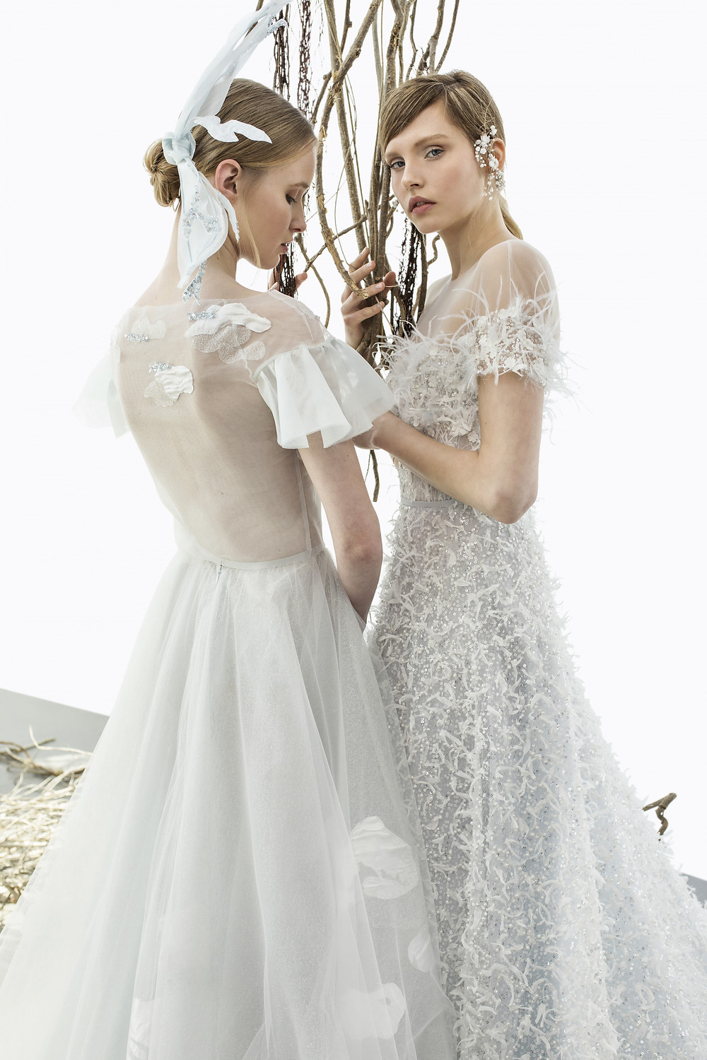 Mira Zwillinger mesh and feather A-line wedding dresses with sleeves