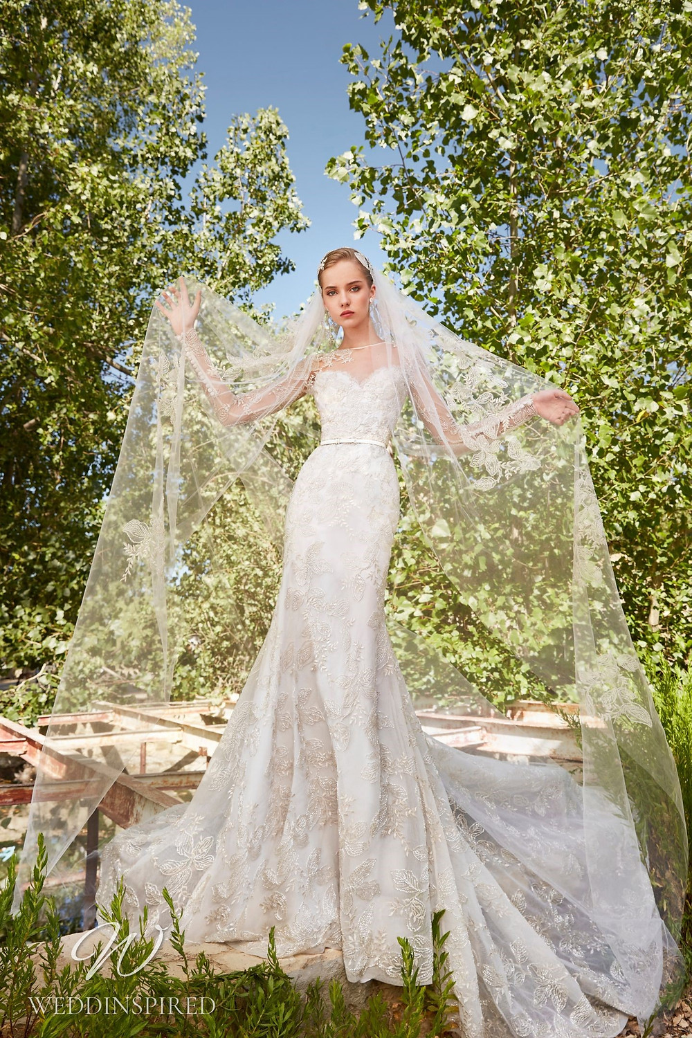An Elie Saab Spring 2021 lace mermaid wedding dress with long illusion sleeves