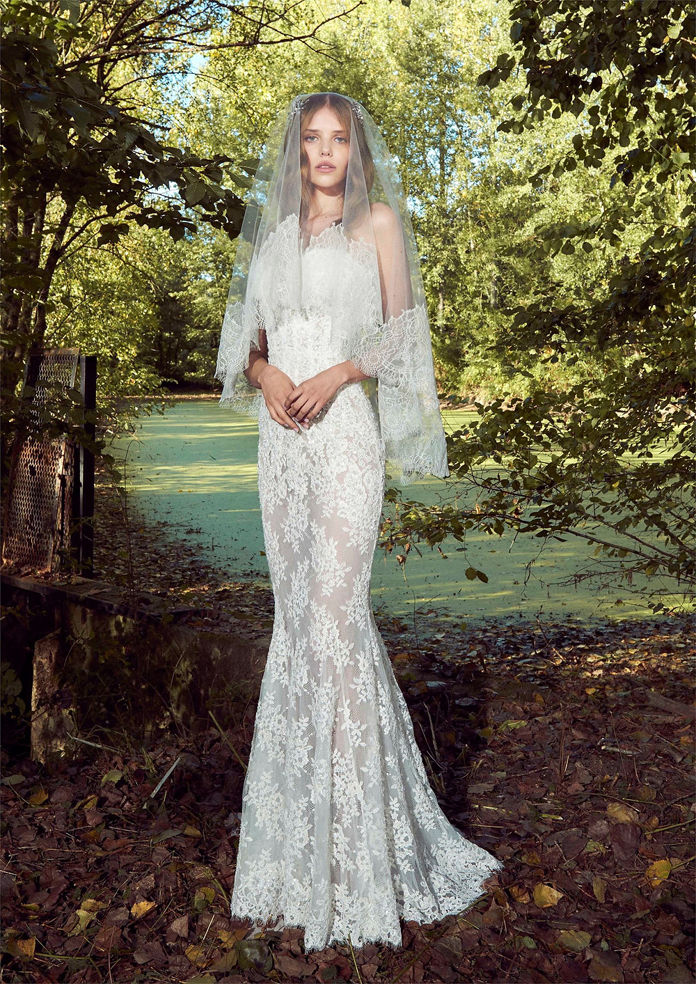 A Zuhair Murad strapless romantic lace mermaid fit and flare wedding dress