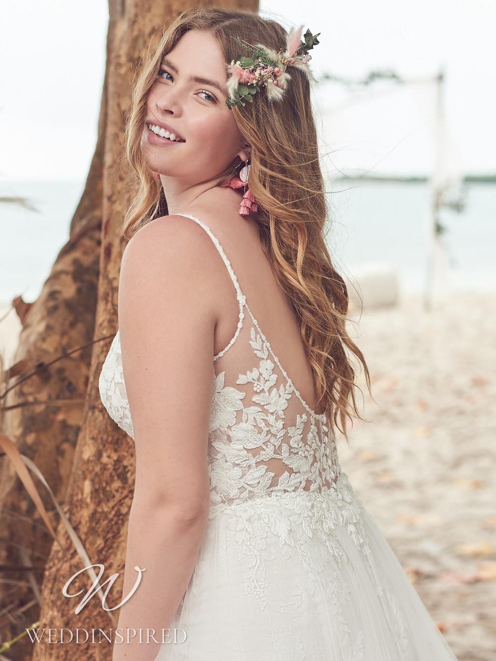 A Rebecca Ingram 2021 plus size lace boho A-line wedding dress
