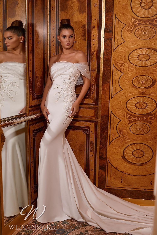 A Pollardi 2021 off the shoulder satin mermaid wedding dress
