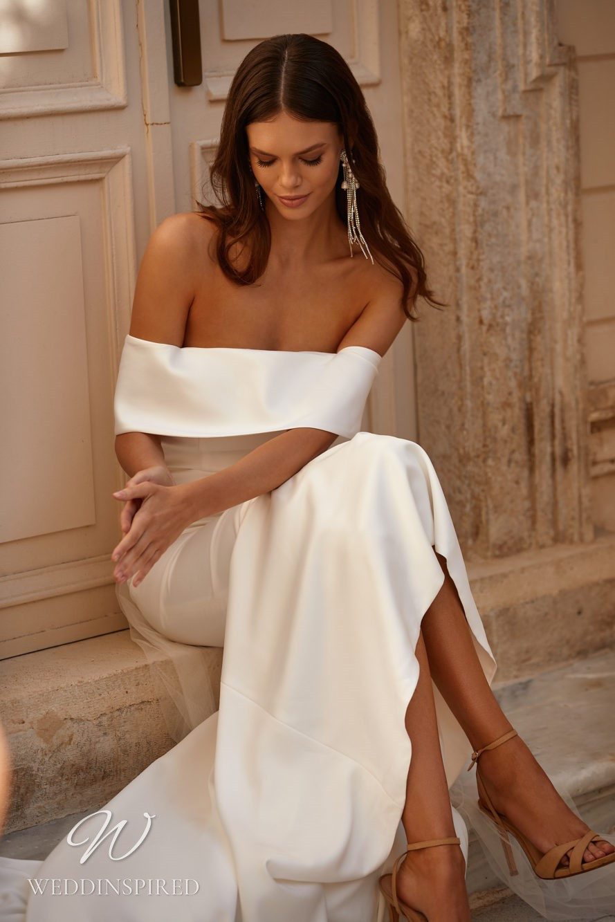 A Milla Nova 2021 simple off the shoulder satin mermaid wedding dress