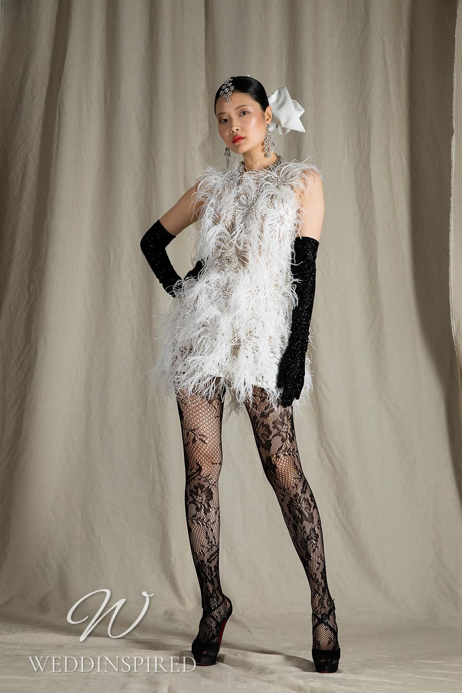 A Naeem Khan 2022 feathers short wedding dress