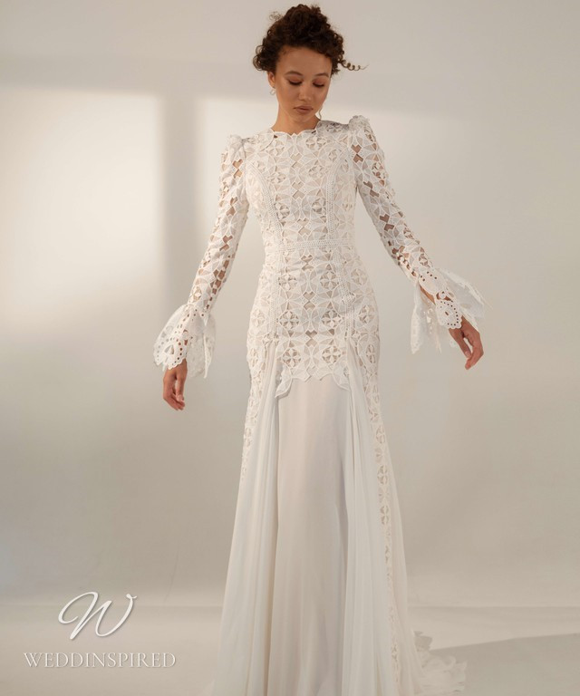 A A Rara Avis 2021 modest lace and chiffon wedding dress with long sleeves and a high neck