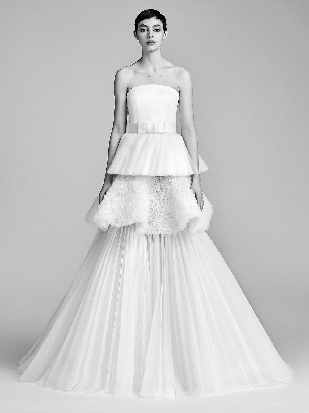 A Viktor & Rolf strapless ball gown wedding dress with a layered tulle skirt