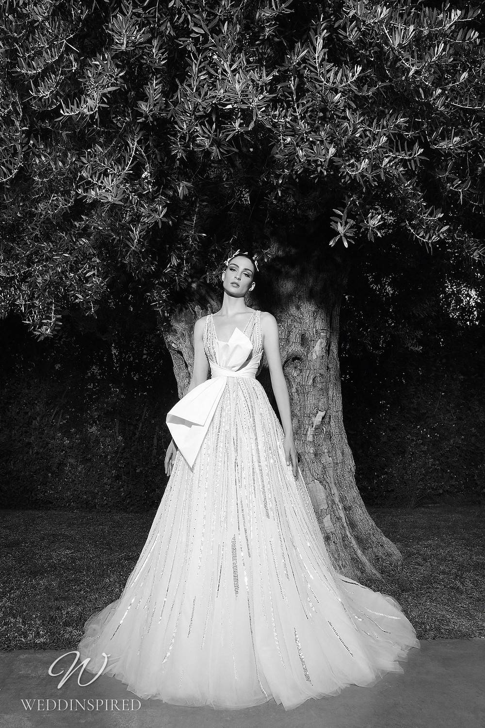 A Zuhair Murad Spring 2022 sparkly tulle A-line wedding dress with straps