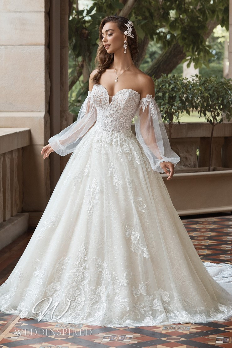 A Sophia Tolli 2021 off the shoulder lace and tulle princess wedding dress