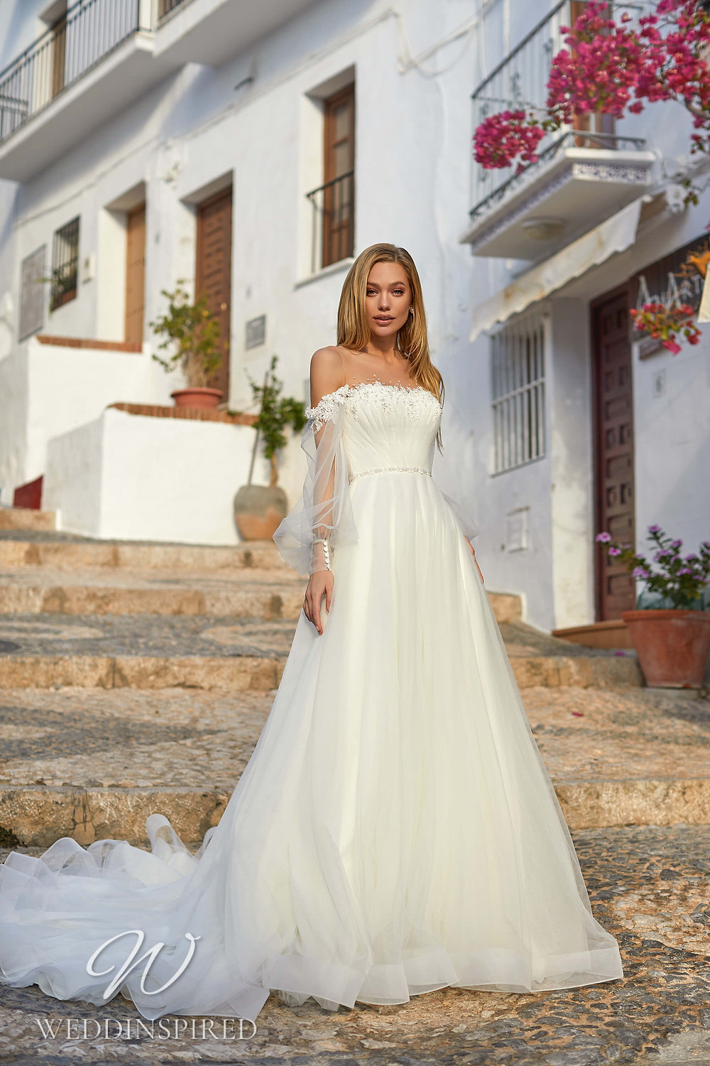 An Essential by Lussano 2021 boho tulle A-line wedding dress with long sleeves