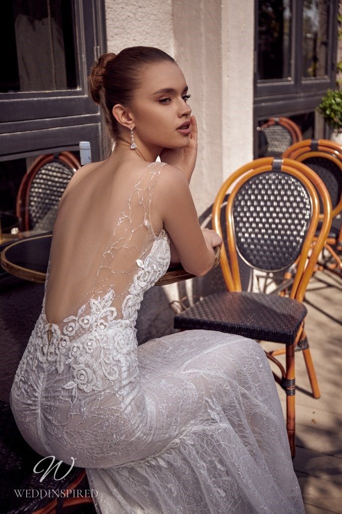 A Julie Vino 2021 lace mermaid wedding dress with a low back