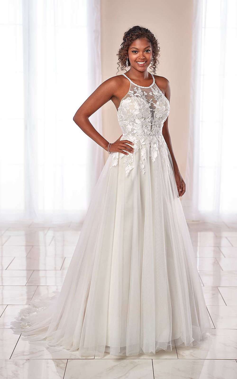 A Stella York 2020 light grey halterneck lace and mesh A-line wedding dress