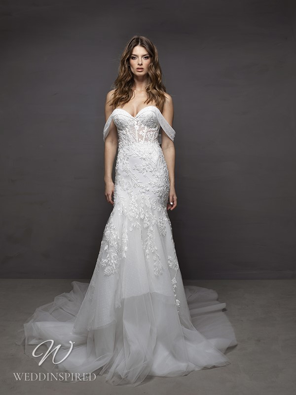 A Riki Dalal 2021 off the shoulder lace and tulle mermaid wedding dress