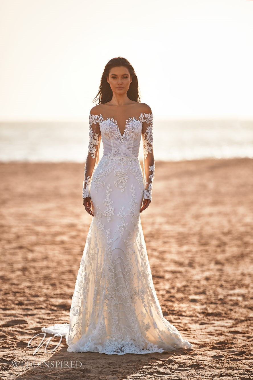 A Milla by Lorenzo Rossi 2021/2022 off the shoulder lace mermaid wedding dress with long sleeves
