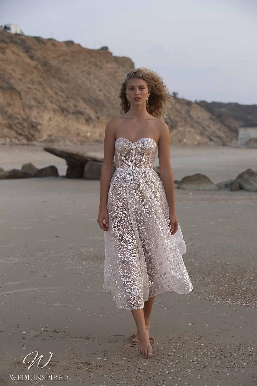 A Muse by Berta sparkly beach tea length ivory strapless wedding dress