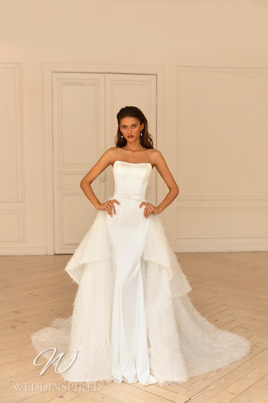 A WONÁ Concept 2021 simple strapless satin mermaid wedding dress