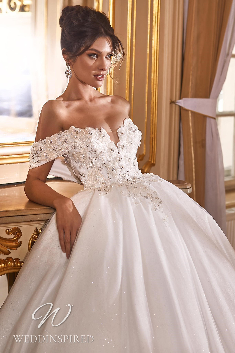 A Ricca Sposa 2022 off the shoulder lace and tulle princess wedding dress