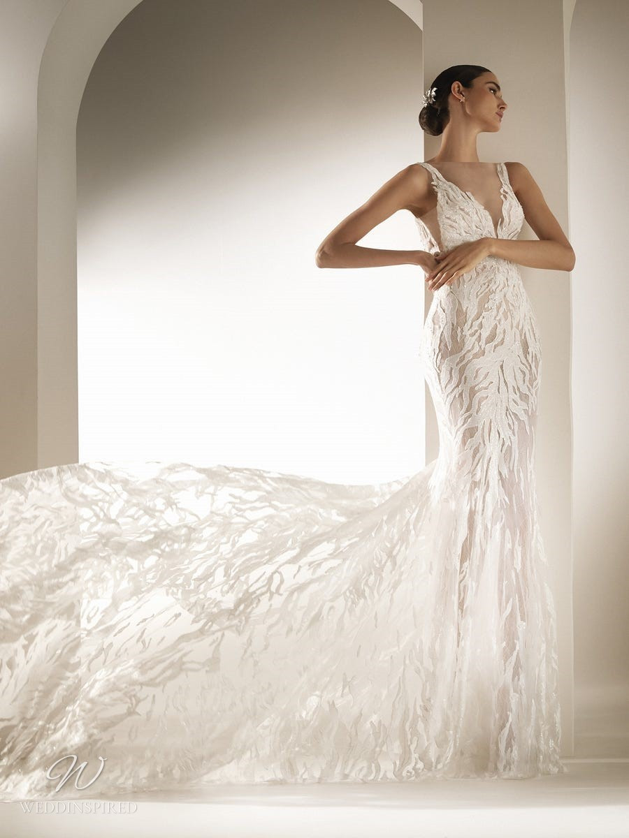 An Atelier Pronovias gauzy mermaid wedding dress with print, straps and a v neckline
