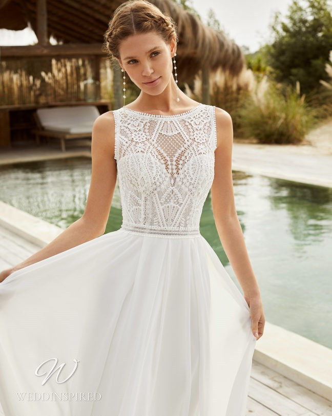 An Aire Barcelona 2021 flowy lace A-line wedding dress