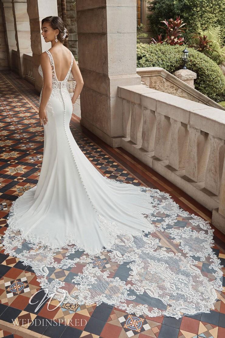 A Sophia Tolli 2021 lace and satin mermaid wedding dress
