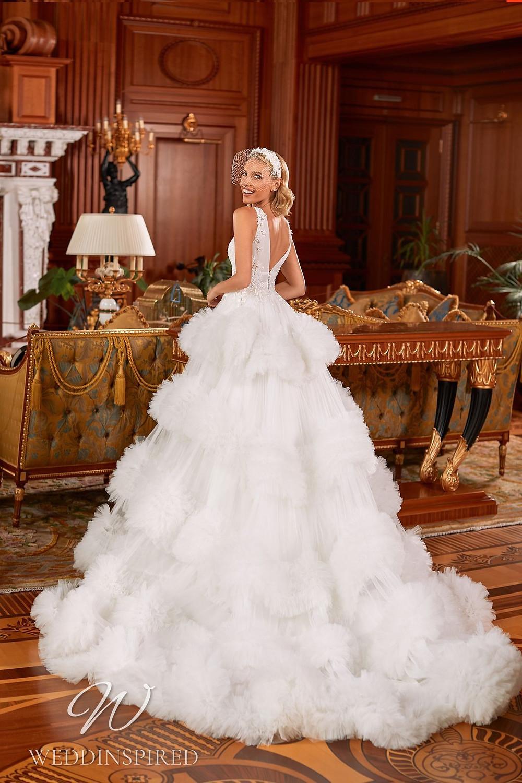 A Pollardi 2021 tulle princess wedding dress with a ruffle skirt