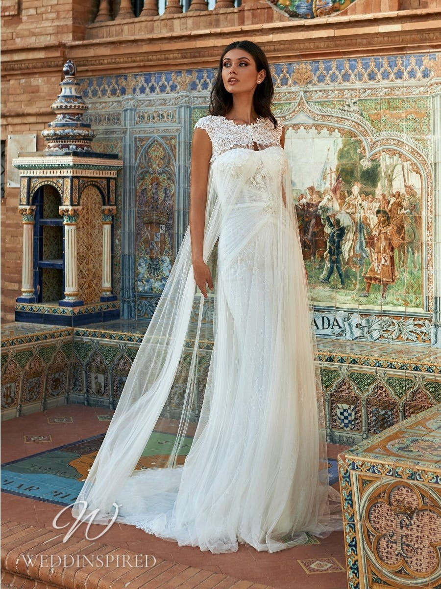 A Marchesa for Pronovias 2022 strapless tulle sheath wedding dress with a cape