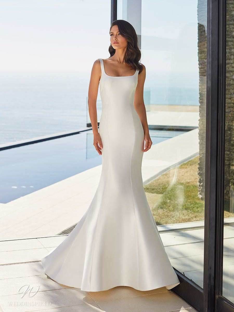 A Pronovias 2021 simple silk mermaid wedding dress with straps