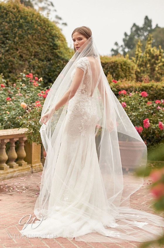 A Monique Lhuillier Bliss Fall 2021 lace and tulle mermaid wedding dress with cap sleeves and a low back